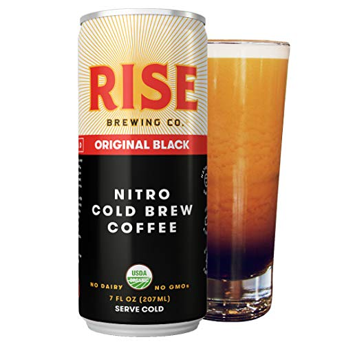 (RISE Brewing Co. | Original Black Nitro Cold Brew Coffee (12 7 fl. oz. Cans) - Sugar, Gluten & Dairy Free | USDA Organic and Non-GMO | Clean Energy, Low Acidity, Naturally Sweet | 0 Calories)