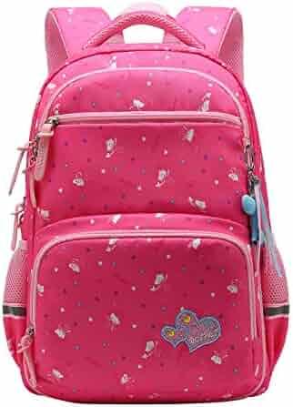64bf91cfd03 Girl Multipurpose Dot Primary Junior School Bag Bookbag Backpack (22  Liters, Style B Rose