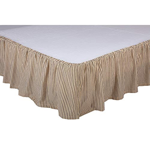 VHC Brands Farmhouse Sawyer Mill Ticking Cotton Split Corners Gathered Striped Queen Bed Skirt Charcoal Dark Creme White