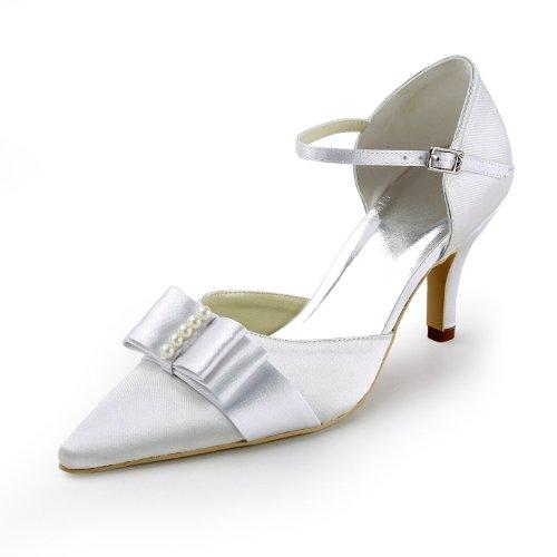 Elegantpark EP11116 Ivory Women's Pointed Toe Stiletto Heel Bow Pearl Satin Wedding Bride Shoes US 7