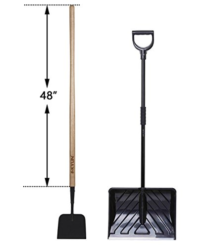 Shank Sidewalk Scraper - KYLIN Snow Removal Tools Set Including Ice Scraper and Snow Pusher with D-Grip Handle2-Gauge 7''× 6'' Steel Plate Forged Sidewalk & Ice Scraper with 48''Ash Wood Handle