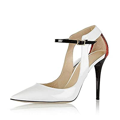 Women's Dress High Heel Sandals, Ankle Strap Stiletto Pointed Pumps Shoes, White Wedding Office Banquet Party Dinner