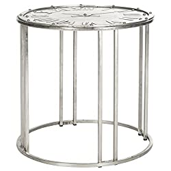 Safavieh Home Collection Roman Clock Antique Silver End Table