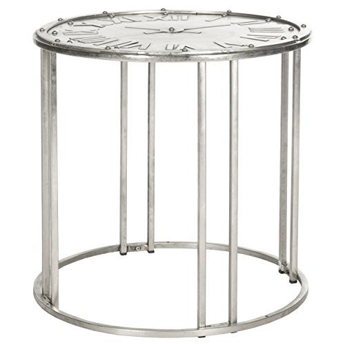 Safavieh Home Collection Roman Clock Antique Silver End Table - Table Clocks Furniture Collections