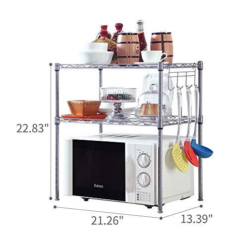 SINGAYE 2 Tier Adjustable Oven Microwave Rack Baker's Rack Kitchen Storage Rack Kitchen Shelving Unit with 2 Shelf ()