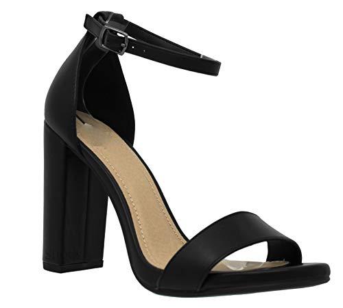 MVE Shoes Women's Stiletto Pumps High Heels Open Toe Ankle Strap Platform, Black PU Size 7