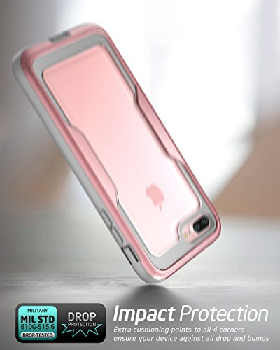 iPhone 8 Plus Case, iPhone 7 Plus case, i-Blason [Heavy Duty Protection] [Magma Series] Shock Reduction/Full body Bumper Case with Built-in Screen Protector for iPhone 8 Plus 2017 (Pink) by i-Blason (Image #2)