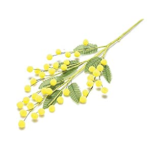 MARJON FlowersArtificial Mimosa Branch 5 Pieces Yellow Fake Branches Flowers Women's Party Decorations Floral Home Gift 10