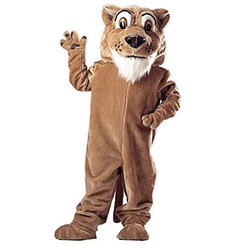 Corby Cougar Mascot Costume Adult Halloween Costume Brown
