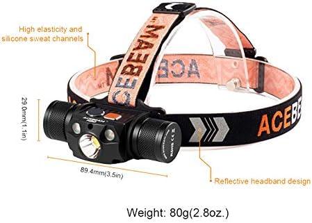 la Course la randonn/ée ACEBEAM Mini Lampe Frontale H40 Haute intensit/é 600 lumens Max par Batterie Li-ION Id/éal pour la Lecture la Chasse