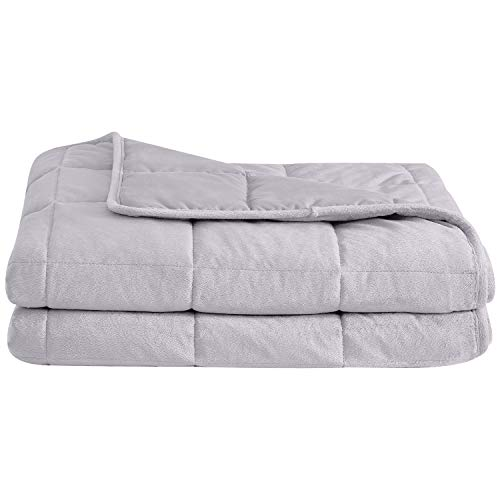 Cheap puredown Cozy and Luxury Weighted Blanket for Adults Youths Heavy Blanket with Glass Beads Flannel and Peach Skin Dual-Sided Cover 20 lbs 60