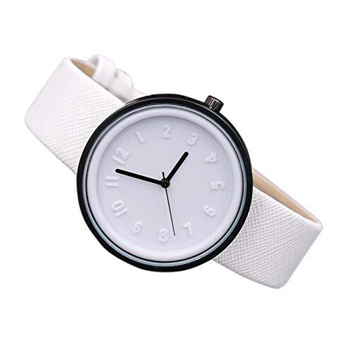 Clearance Sale! Unisex Simple Number Watches Quartz Canvas Belt Wrist Watch Casual Classic Simple Wristwatch (White) ()