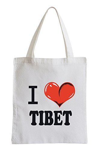 Io amo il Tibet Fun sacchetto di iuta
