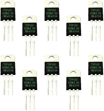 Ogquaton Dispositif de semi-conducteur /à transistor 5A 100V NPN de qualit/é sup/érieure 10pcs TIP122 Darlington