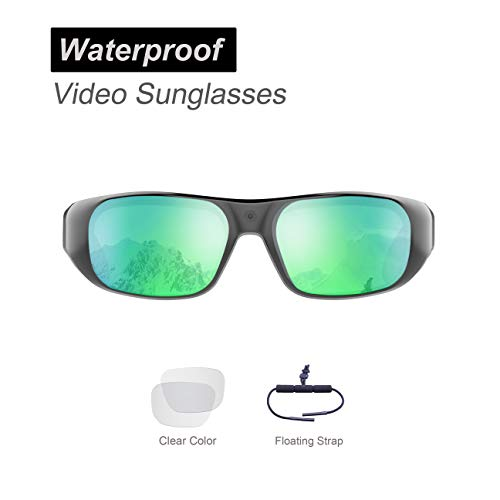 Waterproof Video Sunglasses,32GB Ultra 1080P Full HD Outdoor Sports Action Camera and 2 Sets Polarized UV400 Protection Safety Lenses,Unisex Sport Design