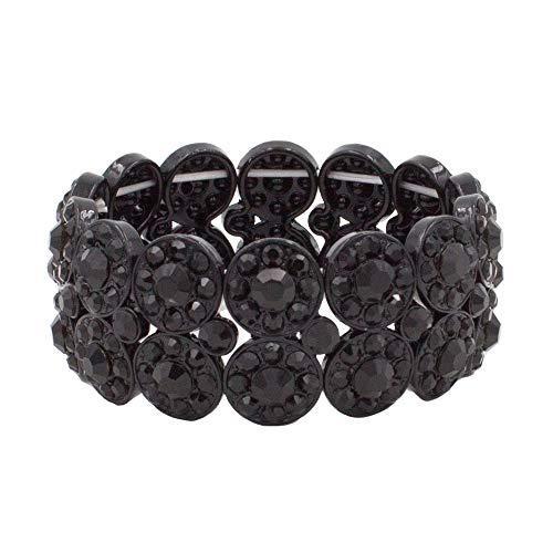 Lavencious 2 Rows Rhinestone Stretch Bracelet Evening Party Jewelry 7