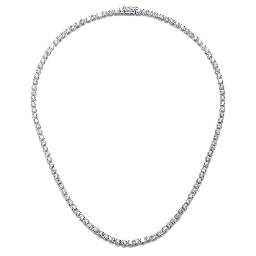 Rhodium Plated Silver White Cz 3mm Line Necklace-18 by CHELINE