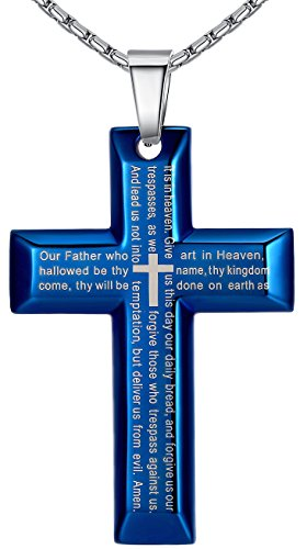 Men's Stainless Steel Large Lord's Prayer Cross Pendant Necklace, Blue Color, 23