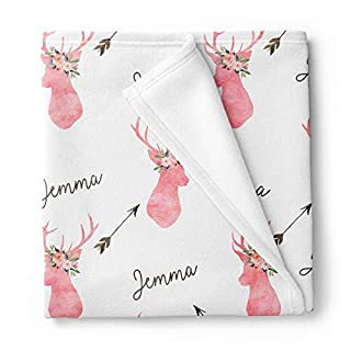Lovable Gift Co Personalized Deer Fleece Baby Girls Blanket, Woodland Nursery décor White