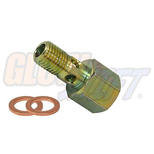 GlowShift Fuel Pressure Banjo Bolt Sensor Thread Adapter for 1994-1998 P7100 12-Valve Dodge Ram 2500 3500 Cummins Diesel - Installs to Fuel Filter Housing - Includes Copper Crush Washers