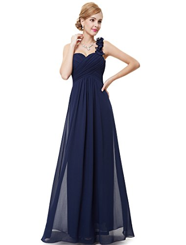 Ever-Pretty Womens One Shoulder Flower Long Military Ball Dress 16 US Navy -