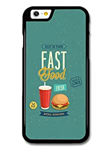 Retro Colourful American Fast Food Diner Menu in Blue with USA Burger Illustration case for iPhone 6