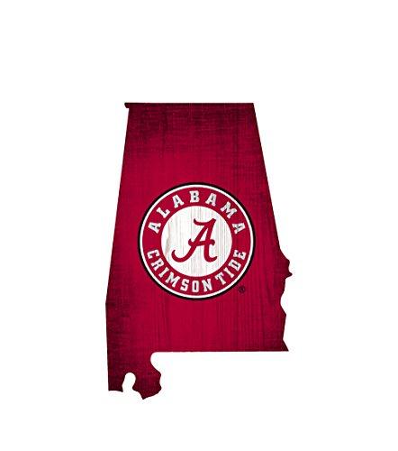 "NCAA Alabama Crimson Tide 12"" X 7.5"" Team Color Logo State"