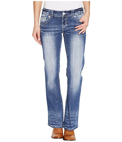 Rock and Roll Cowgirl Women's Low Rise Bootcut In Medium Vintage W0-1378 Medium Vintage Jeans