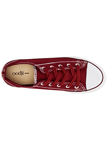 in Gomma Ultra di Punta Tela Rosso Sneakers 4910b Donna oodji con Ow8q0a0p