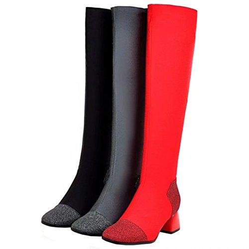 AIYOUMEI Stretch Boots Knee Heel Boots Slip Winter Block Women's High on Long Glitter Gray trw5rqC