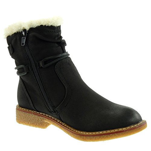 Fur Buckle Women's Ankle Fashion cm Boots Shoes 5 Booty Black Heel 2 Block Boots Snow Angkorly Laces Cavalier zPFqxq
