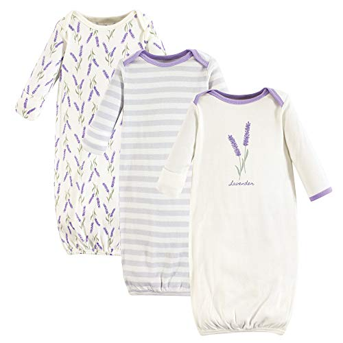 Touched by Nature Baby Organic Cotton Gown, Lavender 3-Pack, 0-6 Months