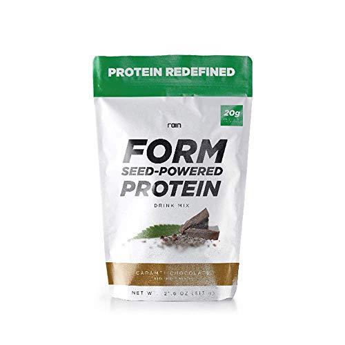 Rain Form Seed Powered Protein: Drink Mix Powder Non-GMO, Vegan, Gluten Free, Dairy Free. Caramel Chocolate Flavor 21.6 oz Bag (15 Servings)