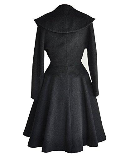 AJ Mode femme revers pour avec en Trench Noir laine coat rUqwrdZ