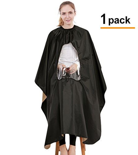 1 Or 2 Pack Profession Waterproof Barber Cape – With Transparent Viewing Window, Durable Water Proof Hairdresser Apron For Adults, All Shampoo Chemical Proof Haircut Cover, Long Beauty Salon Cape (Body Viewing)