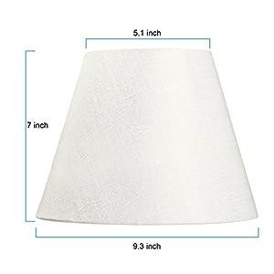 """Lamp Shade IMISI Linen Fabric White Lamp Shade Small 5"""" Top Diameter x 9"""" Bottom Diameter x 7"""" Tall (White)"""