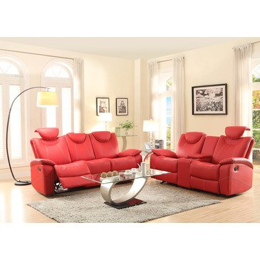 Homelegance Talbot 2 Piece Living Room Set in Red Leather