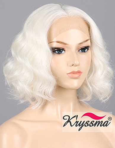 - K'ryssma 12 inches Short Bob Lace Front Wigs for Women Natural Wavy White Synthetic Wig for Halloween Cosplay Party Half Hand Tied Replacement Hair Wigs