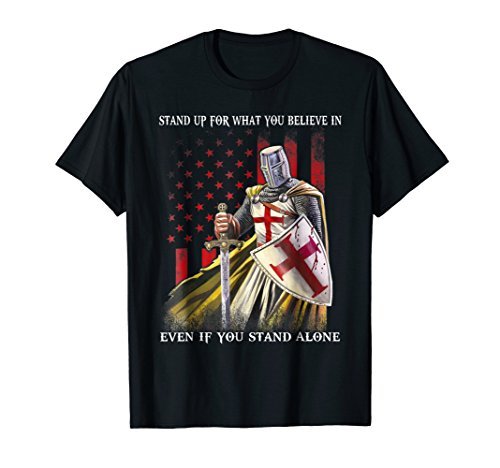 Knight Templar American Flag T-shirt - Knight Men T-shirt