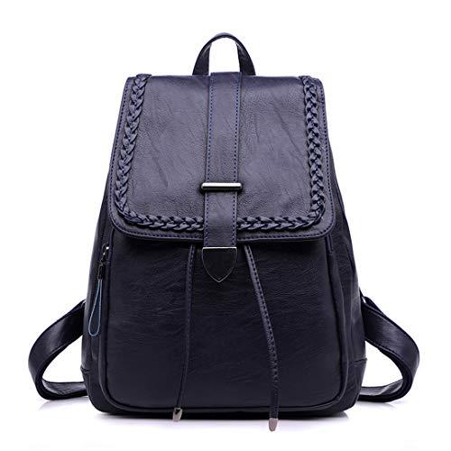 Backpack Viaggio Della Cuoio Di Grande Blue Signore Ragazze Dell'annata Bagpack Zaini Donne Spalla Black Zaino Per Degli Sacchetto Le Delle Femminile Capienza Del Scuola aqWBffX0t