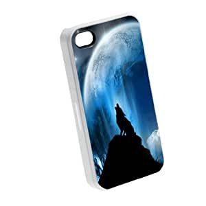 Wolf Full Moon - iPhone 4/4s Glossy White Case