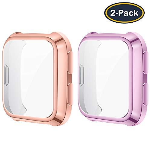 QIBOX Case Compatible with Fitbit Versa, 2-Pack Soft TPU Plated Screen Protector All-Around Protective Cover Bumper Shell Compatible with Fitbit Versa Smart Watch [Scratch-Resistant] [Shock-Proof]