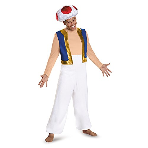 Disguise Men's Toad Deluxe Adult Costume, Red, XX-Large -