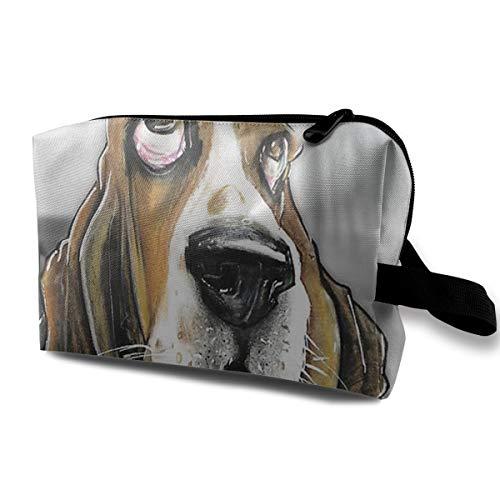 Cosmetic Bag Basset Hound Puppy Art Makeup Pouch Toiletries Bags Storage Zipper Pen Pencil Power Lines Travel Cases