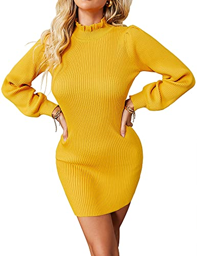 ZHENWEI Womens Long Sleeve Stretchable Elasticity Sweater Dress Soft Slim Fit Basic Pullover Sweater Dress Yellow S