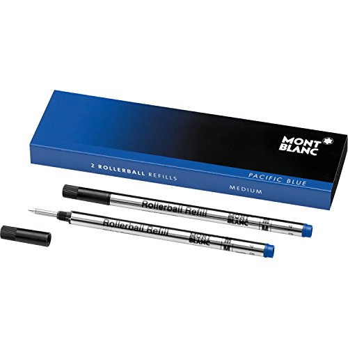 Montblanc Rollerball Refills (M) Pacific Blue 105159 - Quick-Drying Pen Refills for Montblanc Rollerball and Fineliner Pens - 2 x Dark Blue Pen Cartridges