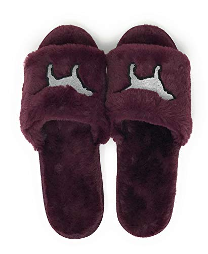 - Victoria's Secret Pink Bling Fuzzy Maroon Slippers L/G