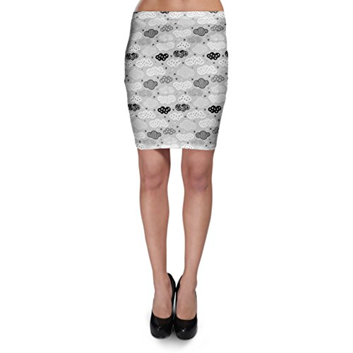 Geometric Clouds Monochrome Bodycon Skirt Rock XS-3XL