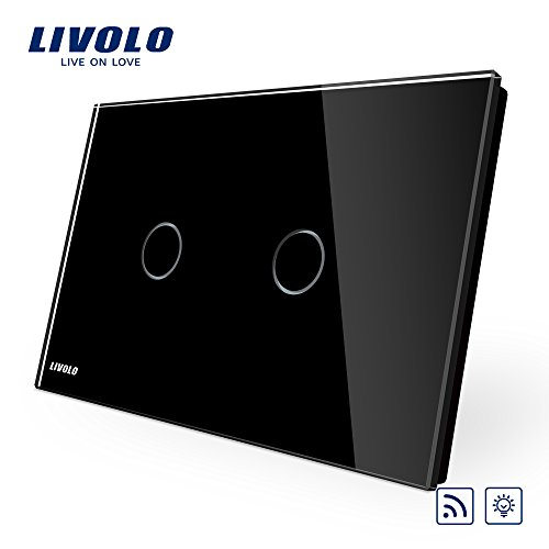 2 Gang Dimmer Switch - LIVOLO Black US Standard AC 110-220V 2 Gang 1 Way Black Wall Light Dimmer & Remote Switch With LED Indicator, CE Certified, C902DR-12