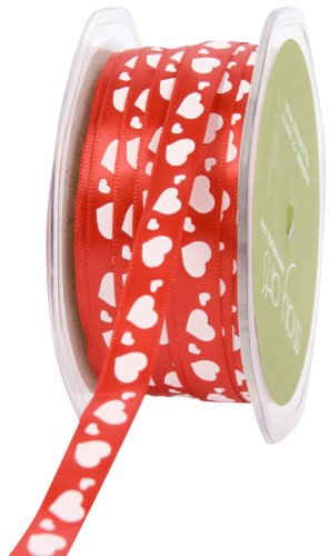 May Arts 3/8-Inch Wide Ribbon, Red Satin with White Hearts